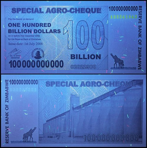 Zimbabwe 100 Billion Dollars Banknote, 2008, P-64, UNC, 50 & 100 Trillion Series