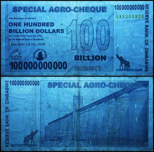 Zimbabwe 100 Billion Dollars Banknote, 2008, P-64, USED