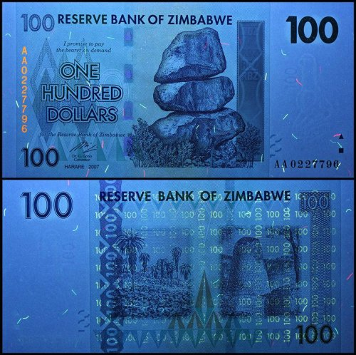 Zimbabwe 100 Dollars Banknote, 2007, P-69, USED, 100 Trillion Series