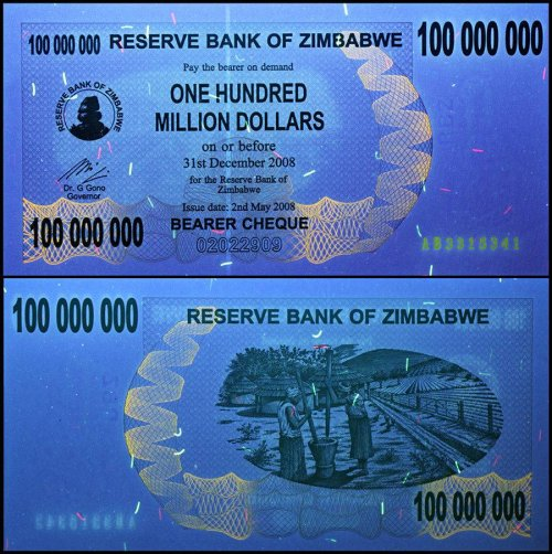 Zimbabwe 100 Million Dollars Banknote, 2008, P-58, USED