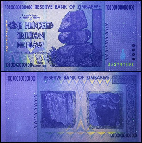 Zimbabwe 100 Trillion Dollars Under UV Light