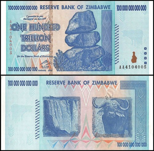 Zimbabwe 100 Trillion Dollars Currency,2008,P-91,Used,Damaged,100Trillion Series
