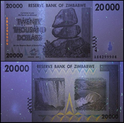 Zimbabwe 20,000 (20000) Dollars, 2008, P-73, UNC, 50 & 100 Trillion Series