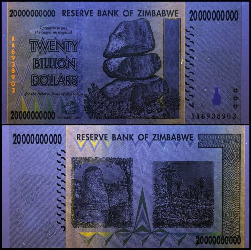 Zimbabwe 20 Billion Dollar Banknote, 2008, P-86, UNC, 50 & 100 Trillion Series