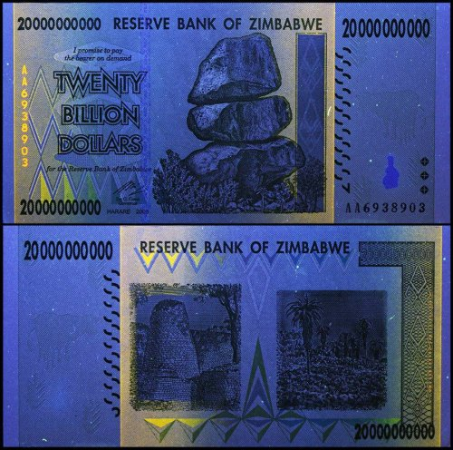 Zimbabwe 20 Billion Dollars Banknote, 2008, P-86, USED, 50 & 100 Trillion Series