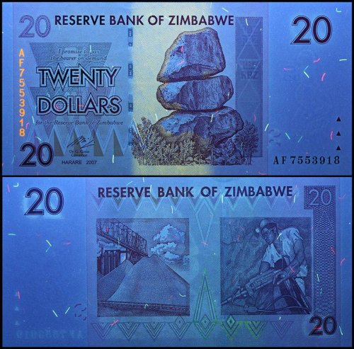 Zimbabwe 20 Dollars Banknote, 2007, P-68, USED, 50 & 100 Trillion Series