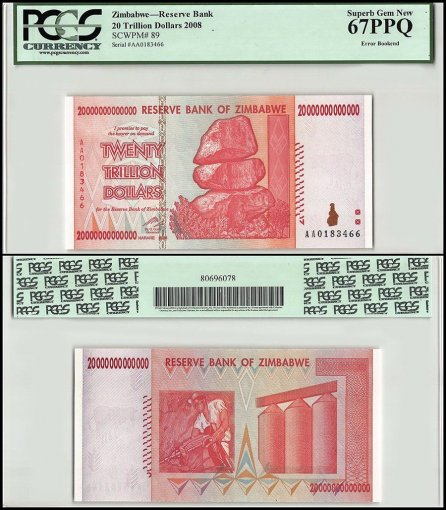 Zimbabwe 20 Trillion Dollars 3 Piece Set, 2008, P-89,Printing Error Bookend,PCGS
