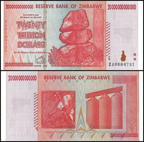 Zimbabwe 20 Trillion Dollars Banknote, 2008, P-89, UNC, Miner, Replacement
