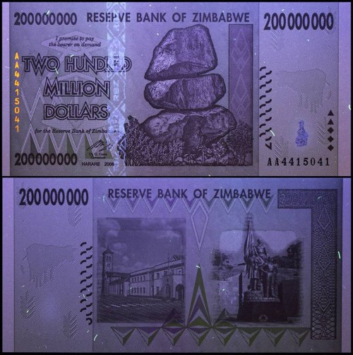 Zimbabwe 200 Million Dollars Banknote, 2008, P-81, UNC, 50 & 100 Trillion Series