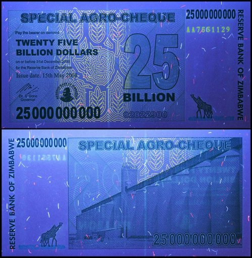 Zimbabwe 25 Billion Dollars Banknote, 2008, P-62, UNC