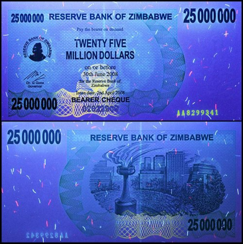 Zimbabwe 25 Million Dollars Banknote, 2008, P-56, USED