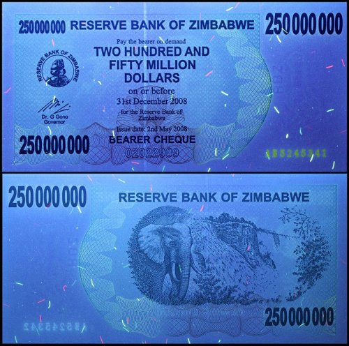 Zimbabwe 250 Million Dollars Banknote, 2008, P-59, USED