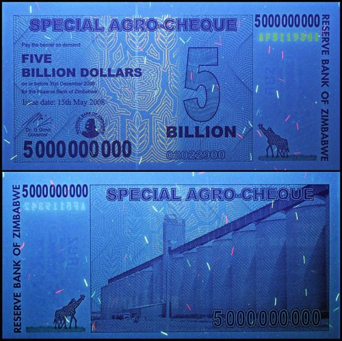 Zimbabwe 5 Billion Dollars Banknote, 2008, P-61, USED