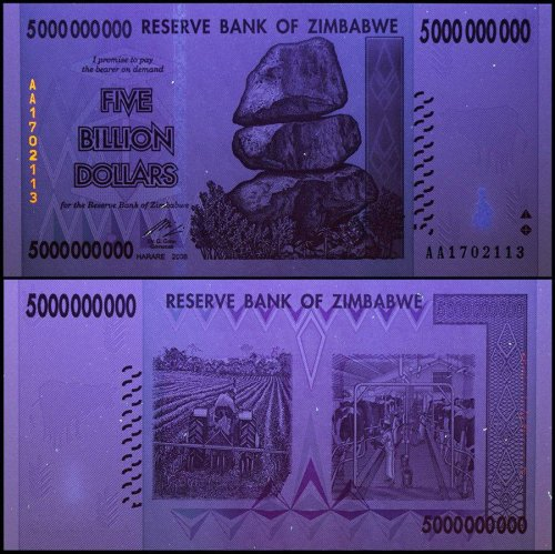 Zimbabwe 5 Billion Dollars Banknote, 2008, P-84, UNC, 50 & 100 Trillion Series
