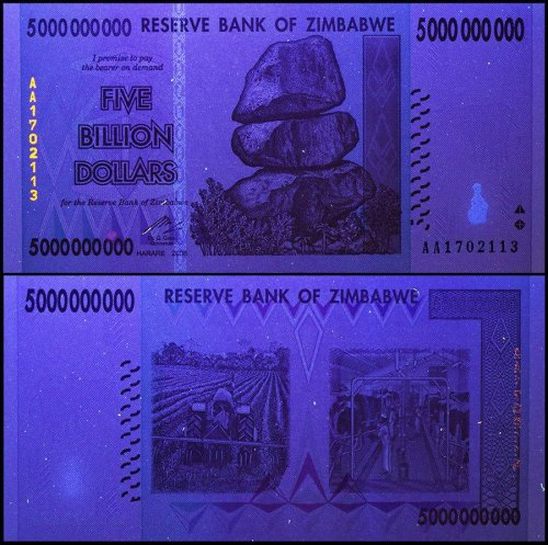 Zimbabwe 5 Billion Dollars Banknote, 2008, P-84, USED, 50 & 100 Trillion Series