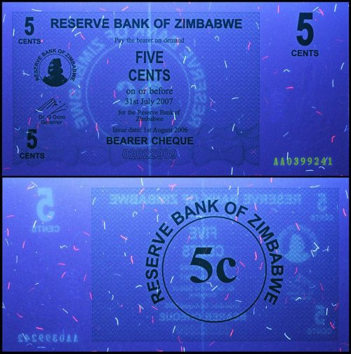 Zimbabwe 5 Cent Bearer Cheque, 2006 Series, P-34, UNC