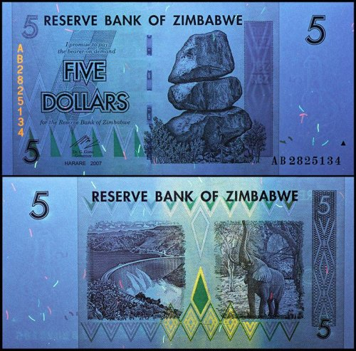 Zimbabwe 5 Dollars Banknote, 2007, P-66, USED, 50 & 100 Trillion Series