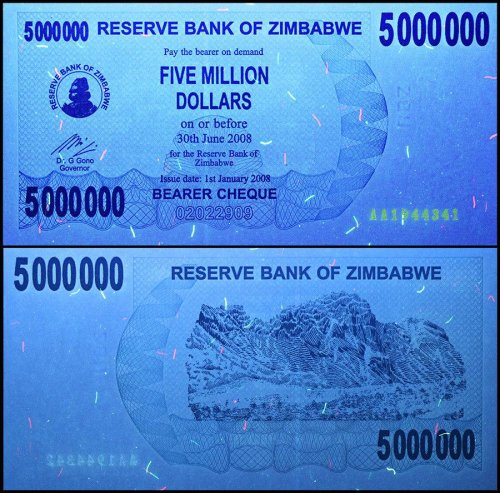 Zimbabwe 5 Million Dollars Bearer Cheque, 2008 Series, P-54, UNC