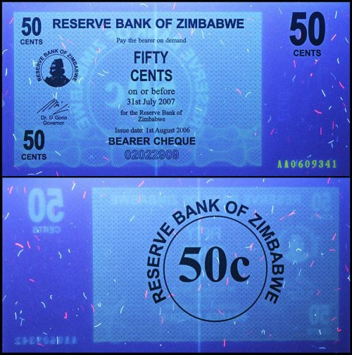 Zimbabwe 50 Cent Bearer Cheque, 2006, P-36, UNC