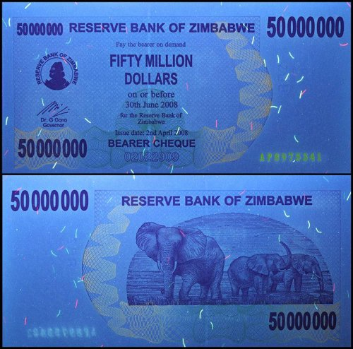 Zimbabwe 50 Million Dollars Bearer Cheque, 2008, P-57, UNC