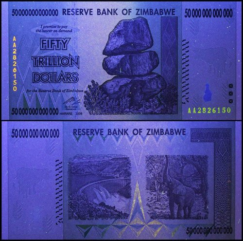 Zimbabwe 50 Trillion Dollars, AA/2008, P-90, USED, 50 & 100 Trillion Series