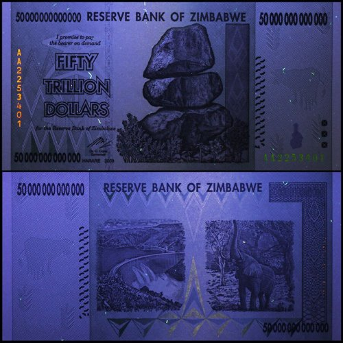 Zimbabwe 50 Trillion Dollars Currency,2008,P-90,Used,Damaged,100 Trillion Series