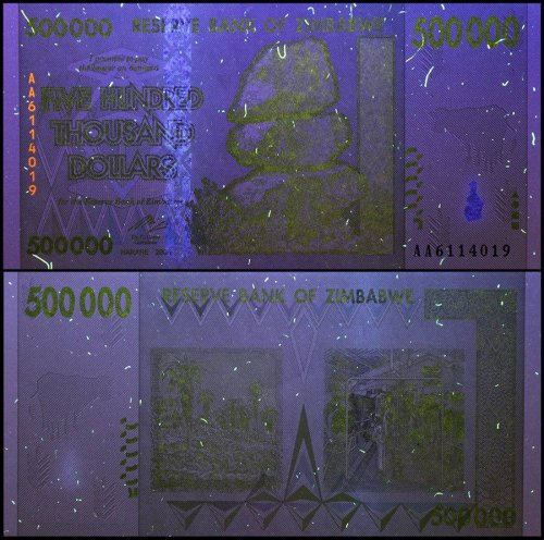 Zimbabwe 500,000 (500000) Dollars, 2008, P-76, UNC, 50 & 100 Trillion Series