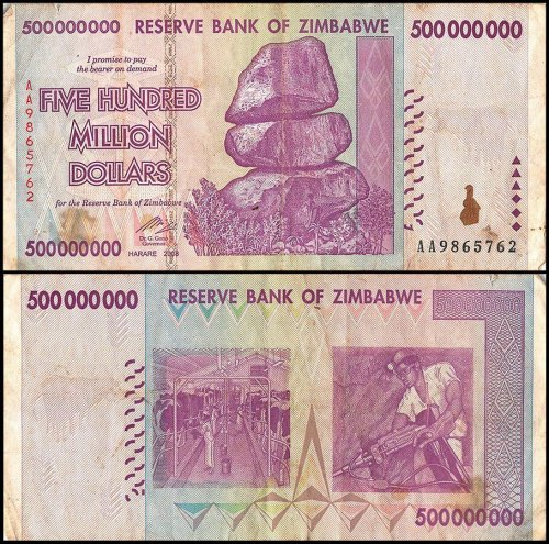 Zimbabwe 500 Million Dollars,AA/AB 2008,P-82,Used,Damaged,50&100 Trillion Series