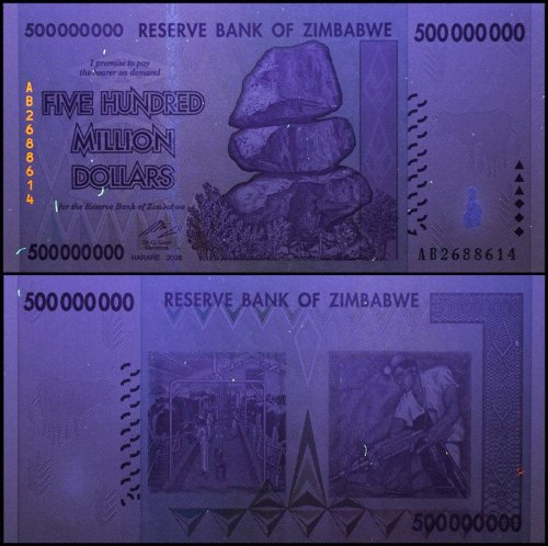 Zimbabwe 500 Million Dollars, AB/2008, P-82, UNC, 50 & 100 Trillion Series