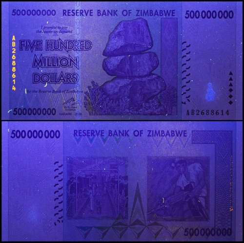 Zimbabwe 500 Million Dollars, AB/2008, P-82, USED, 50&100 Trillion Series