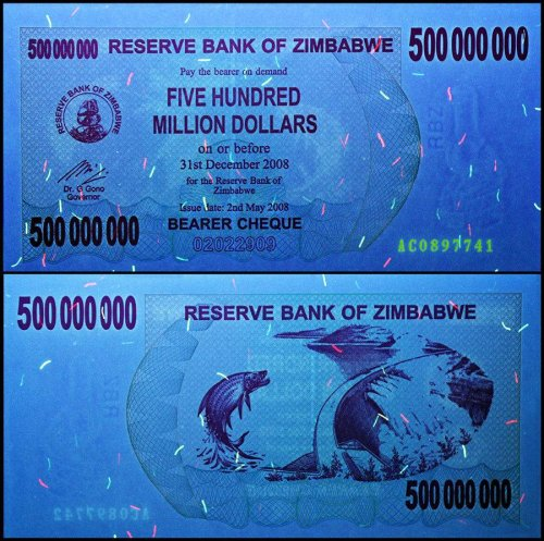 Zimbabwe 500 Million Dollars Bearer Cheque, 2008, P-60, UNC