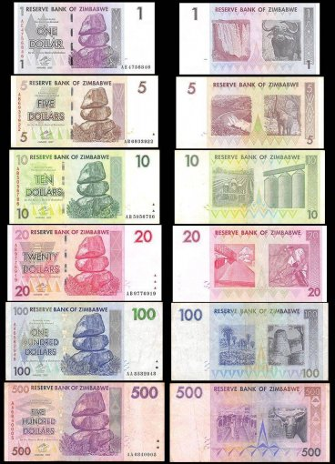 Zimbabwe Full Set $1-$100 Trillion 26 Piece, Black Album, 2008, P-65-91, USED