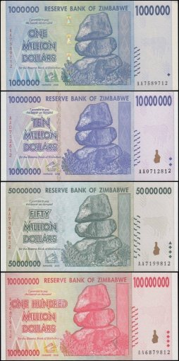 Zimbabwe Full Set in Black Album $1-$100 Trillion Dollar Series, 2008, UNC