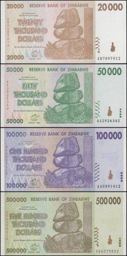 Zimbabwe Full Set in Blue Album $1-$100 Trillion Dollar Series, 2008, UNC