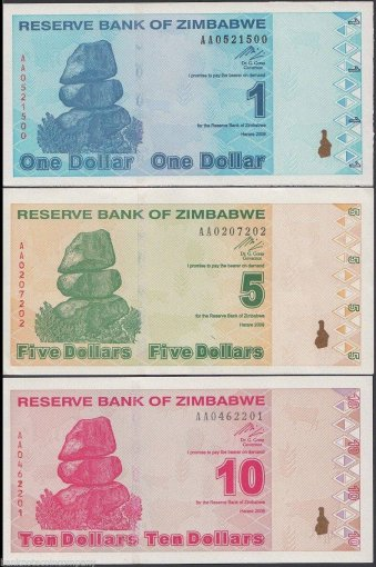Zimbabwe Revalued Dollar Full Set, 2009, UNC, Post 100 Trillion, 7 Pieces (PCS)