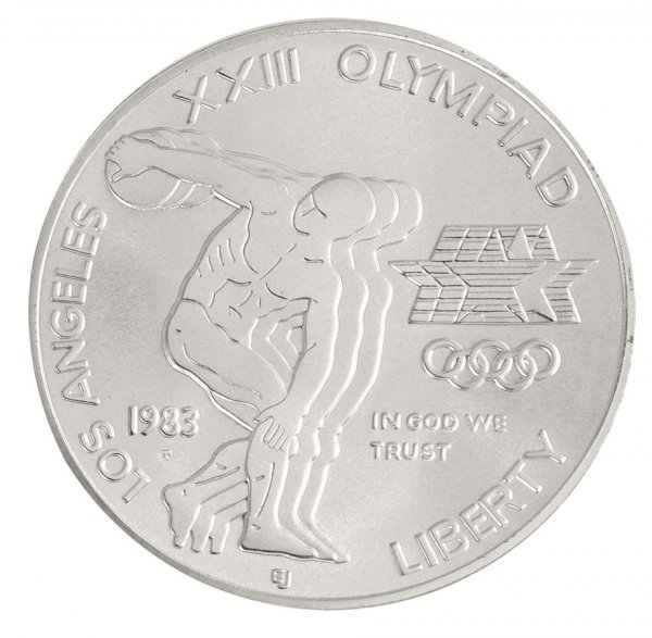 1983-P XXIII Olympiad Los Angeles $1 Silver Commem (In Capsule)