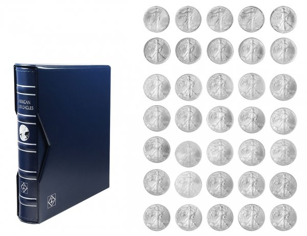 American Eagle Silver Dollars 35 Pieces Coin Album, Includes All Years of 1986-2020, BU