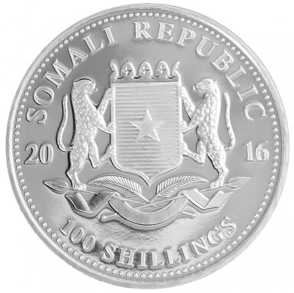 Somalia 100 Shillings 31g Silver Coin, 2016, Mint