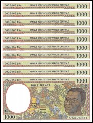 Central African States - Congo 1,000 Francs Banknote, 2000, P-102Cg, UNC